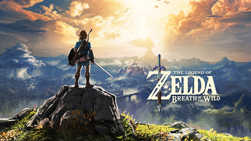 Download wallpaper of Link standing on a rocky cliff overlooking Hyrule.