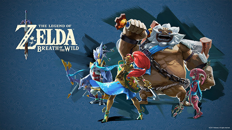 Download wallpaper of Urbosa, Daruk, and various characters from the Legend of Zelda: Breath of the Wild.