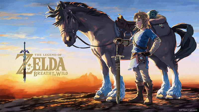 Download wallpaper of Link and his horse Epona from the Legend of Zelda: Breath of the Wild.